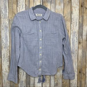 Madewell Striped Tie Back Button Down